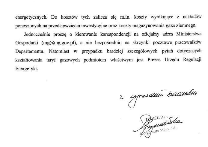 Ministerstwo Gospodarki odpowiedź wsprawie cen gazu wPolsce - strona 3