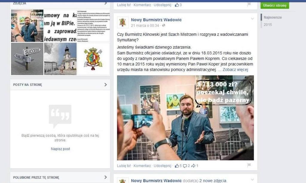 Nowy Burmistrz Wadowic krytykuje drKlinowskiego nafanpage fejsbukowym - scren