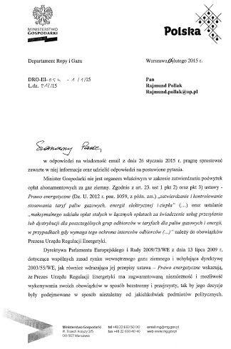 Pismo zMinisterstwa Gospodarki