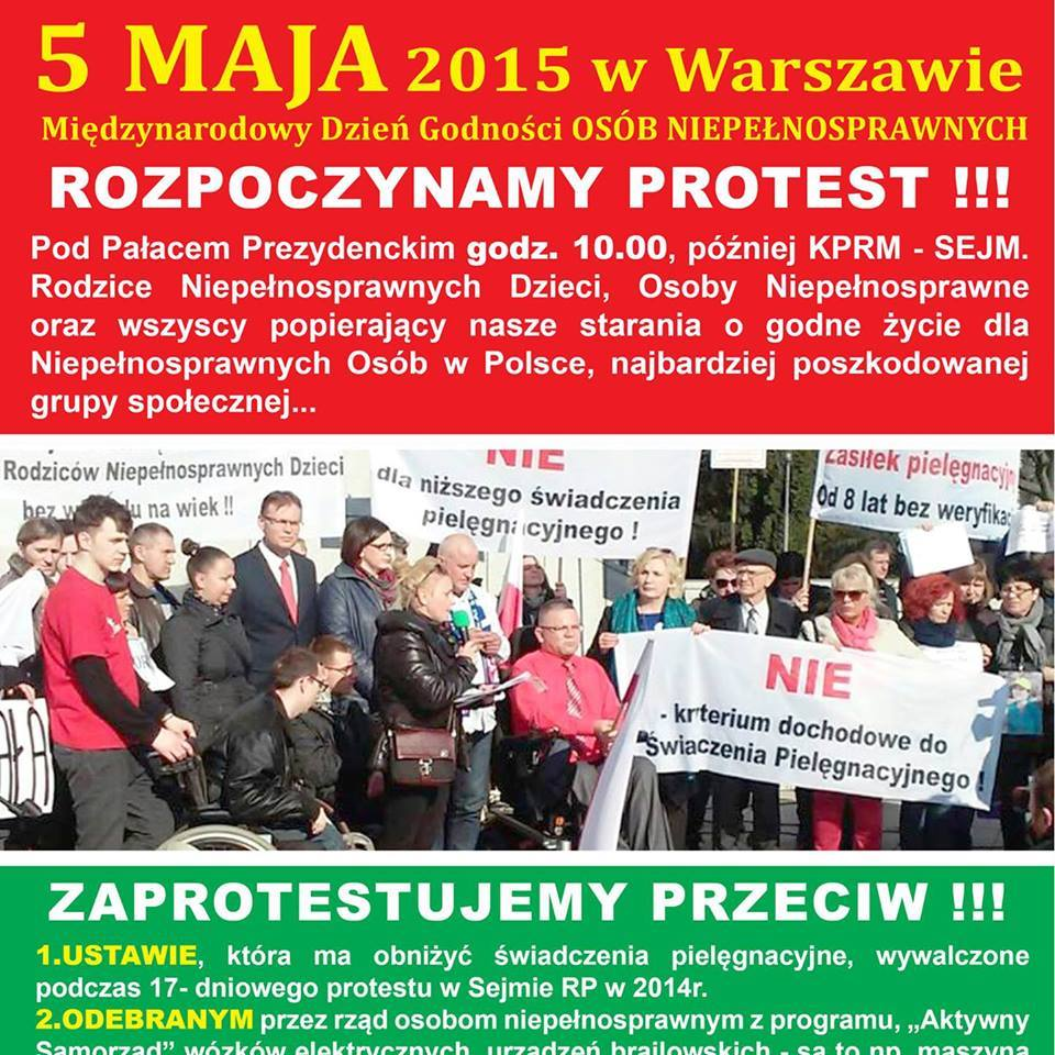 5 maja 2015 roku protest przedKPRM rodzców idzieci niepołnosprawnych