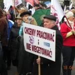 Chcemy pracować, aniewegetować - manifa OPZZ wWarszawie -18.04.2015r.