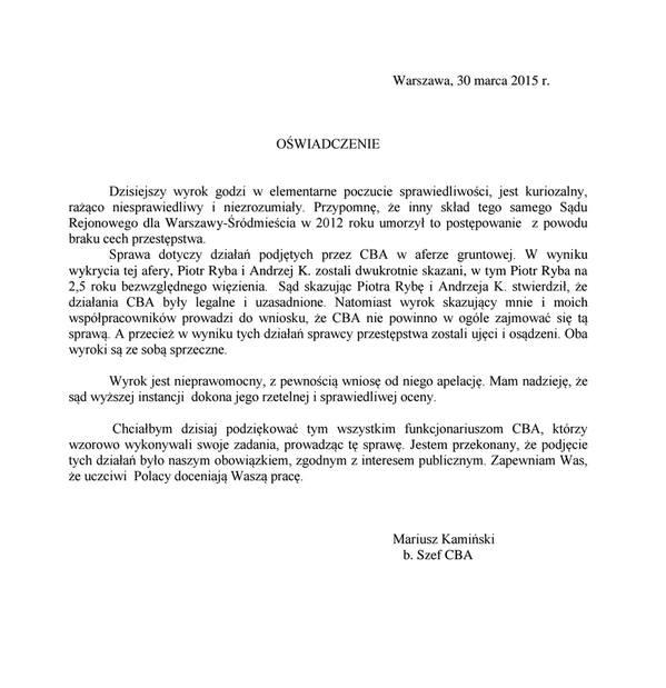 Oświadczenie Mariusz Kaminskiego ws wyroku