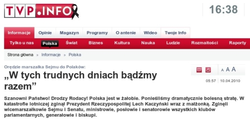 Orędize KOmorowskiego z10 kwietnia 2010 opublikowane naTV Info o5;57 rano