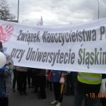 ZNP przy Uniwersytecie Śląskim - manifa OPZZ wWarszawie - 18.04.2014r.