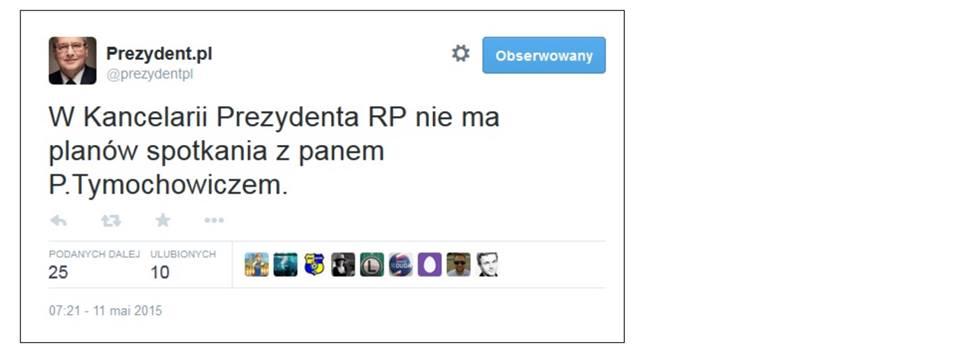 Kancelaria Prezydenta RP dementuje spotkanie zTymochowiczem