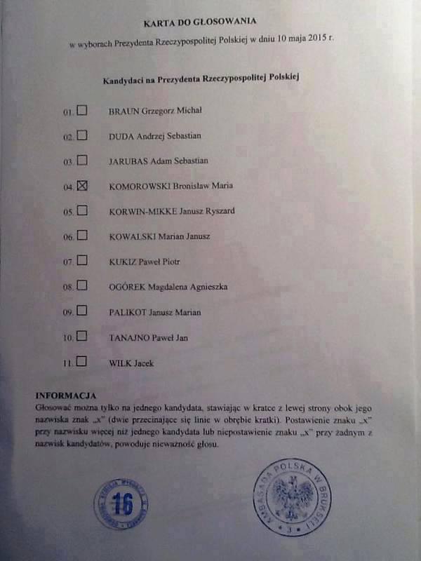 Karta dogłosowania naBronisława Komorowskiego