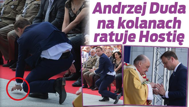 Prezydent RP Andrzej Duda nakolanach ratuje hostię