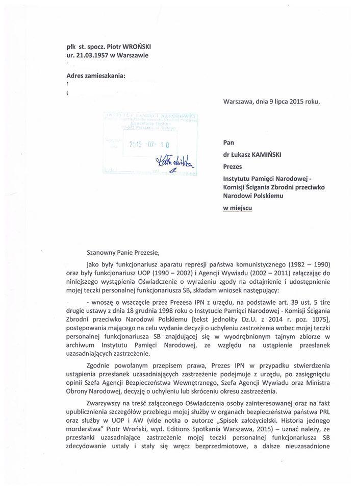 Pismo doPrezesa IPN - str. 1