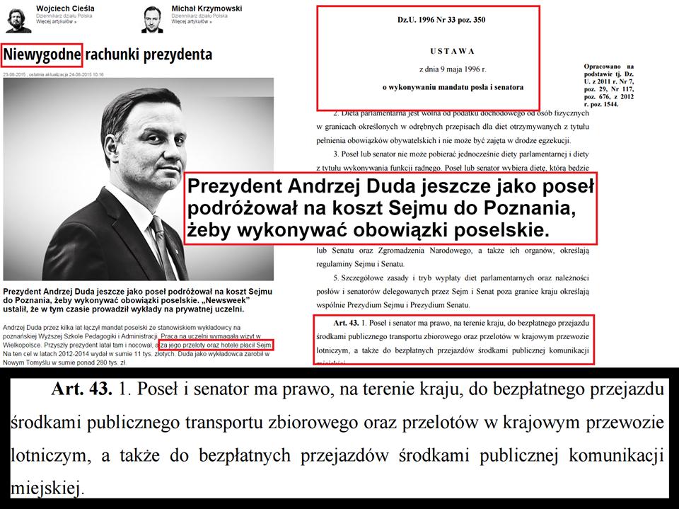 Andrzej Duda wykonywał mandat posła