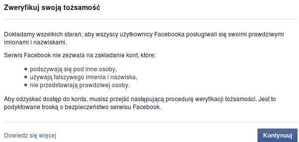Weryfikacja konta Mateusza Gruźla naFacebook'u