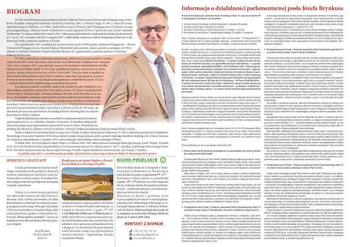 Biuletyn informacyjny nr1 posła drhab. Józefa Brynkusa środek - grudzień 2015r.