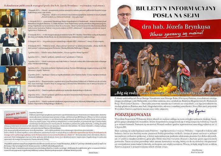 Biuletyn informacyjny nr1 posła drhab. Józefa Brynkusa - tył - grudzień 2015r.