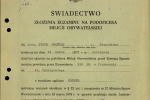 Piotr Wroński - świadectwo zegzaminu pokursie podstawowym dla MO - teczka IPN