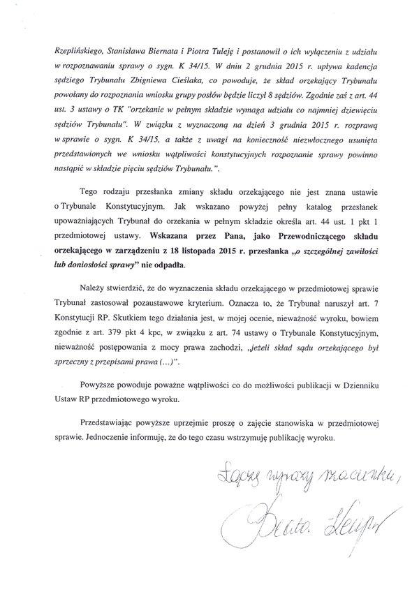 Pismo doPrezesa TK skierowane przezszefową KPRM Beatę Kempe str. 2