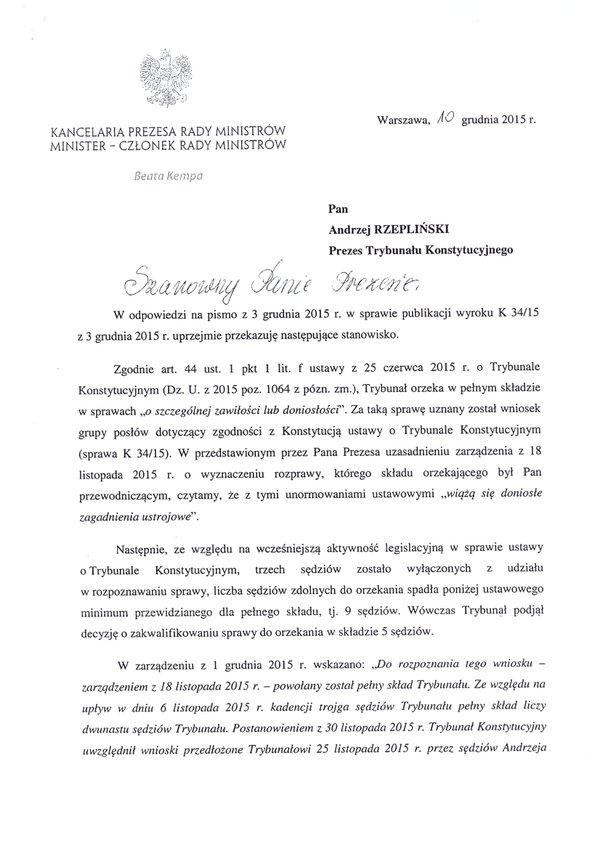 Pismo doPrezesa TK skierowane przezszefową KPRM Beatę Kempe