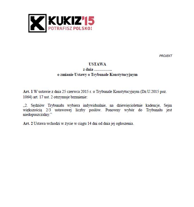 Projekt zmiany ustawy oTrybunale Konstytucyjnym