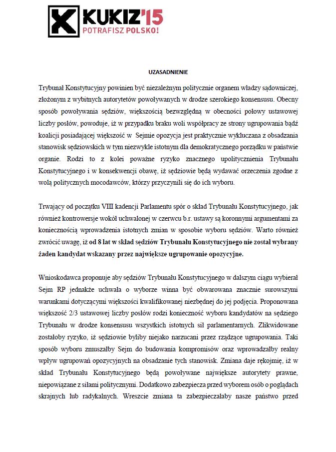 Uzasadnienie projektu zmiany ustawy oTrybunale Konstytucyjnym cz.1