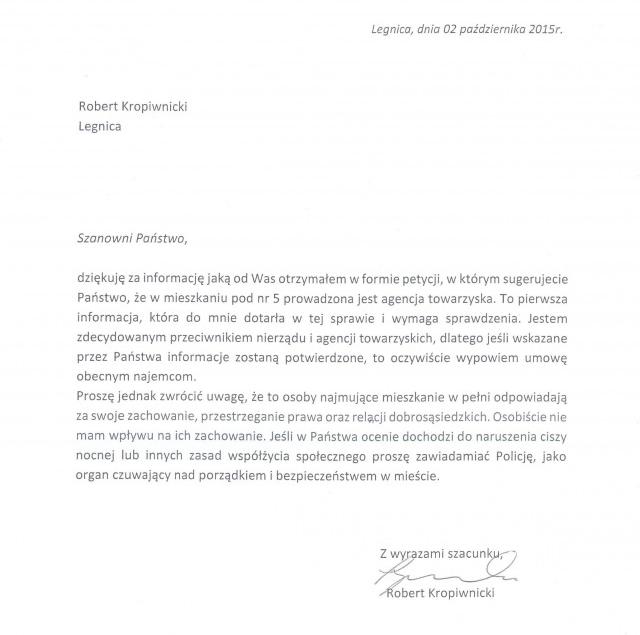 Pismo doposła PORoberta Kropiwnickiego