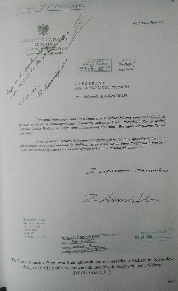 Pismo Kiszczaka doPrezydenta Kwaśniewskiego