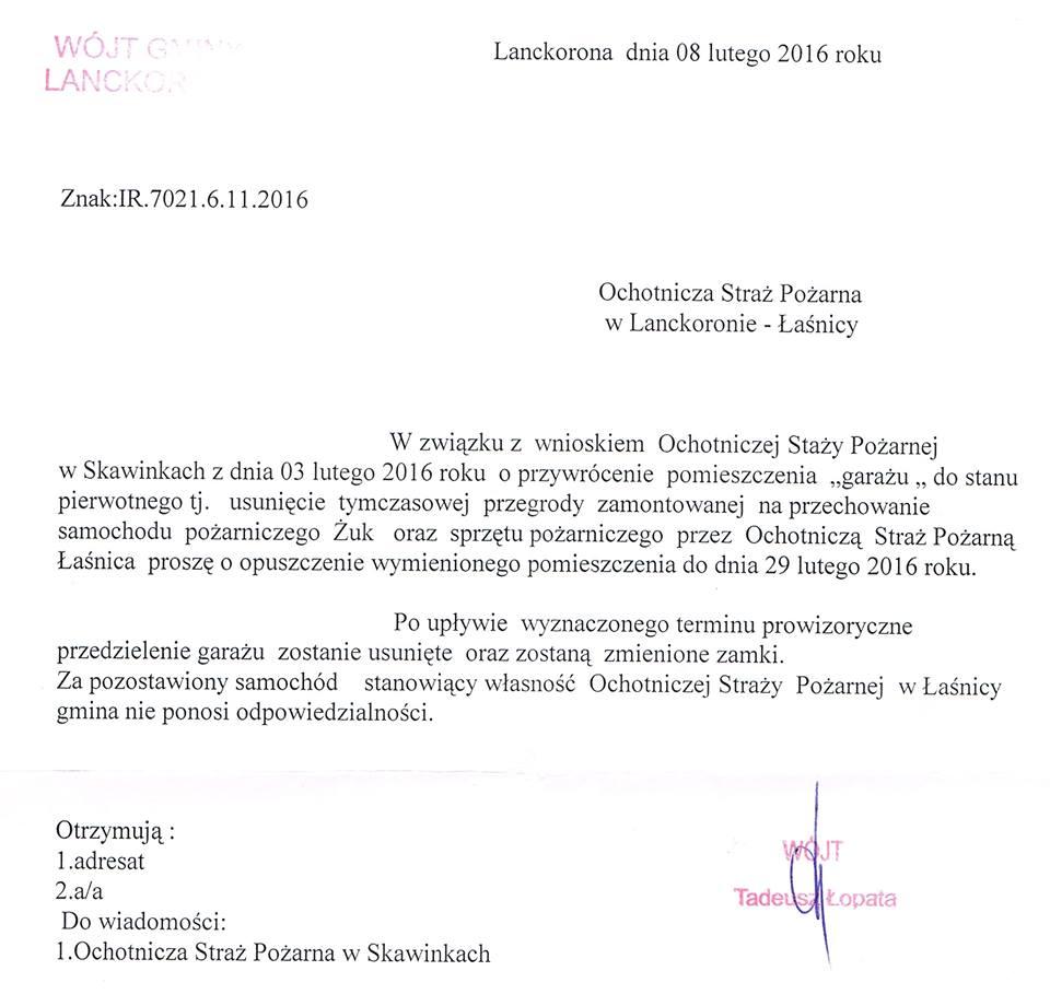 Pismo Wójta Tadeusza Łopaty ws grażu dla OSP Łaśnica