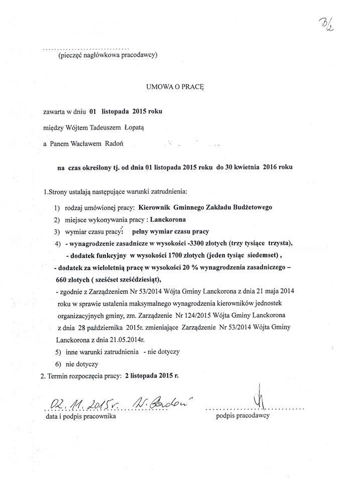 Umowa opracę zkierownikiem GZB wLanckoronie
