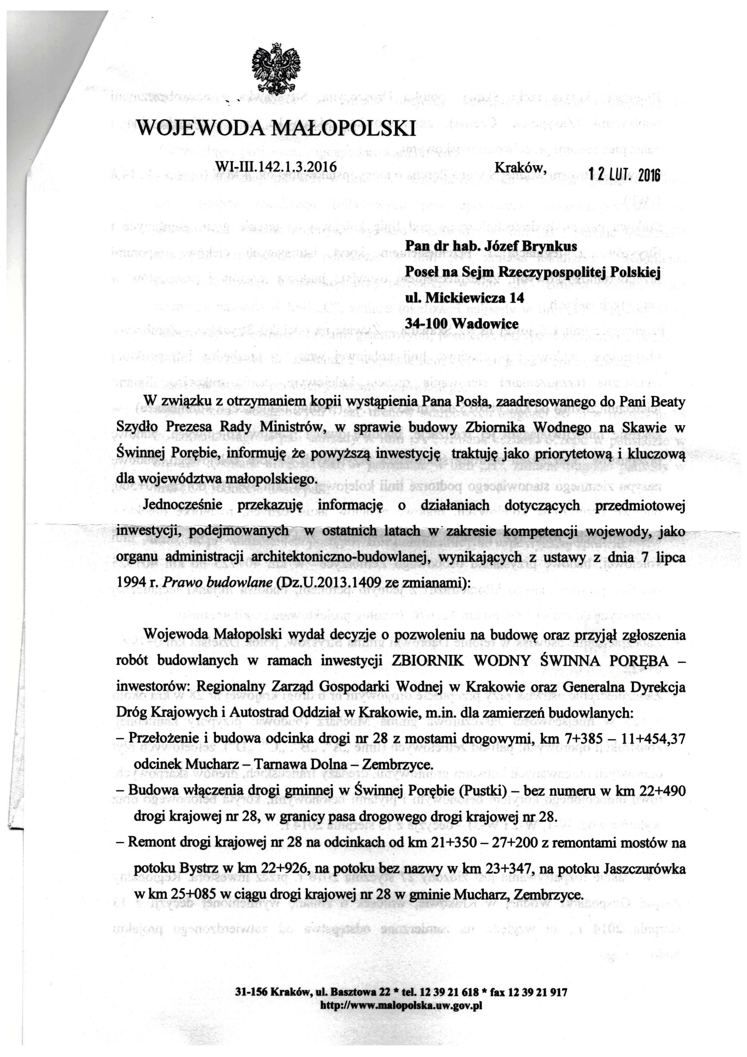 Zbiornik wodny - pismo odWojewody Małopolskiego ws budowy Jeziora Mucharskiego str. 1