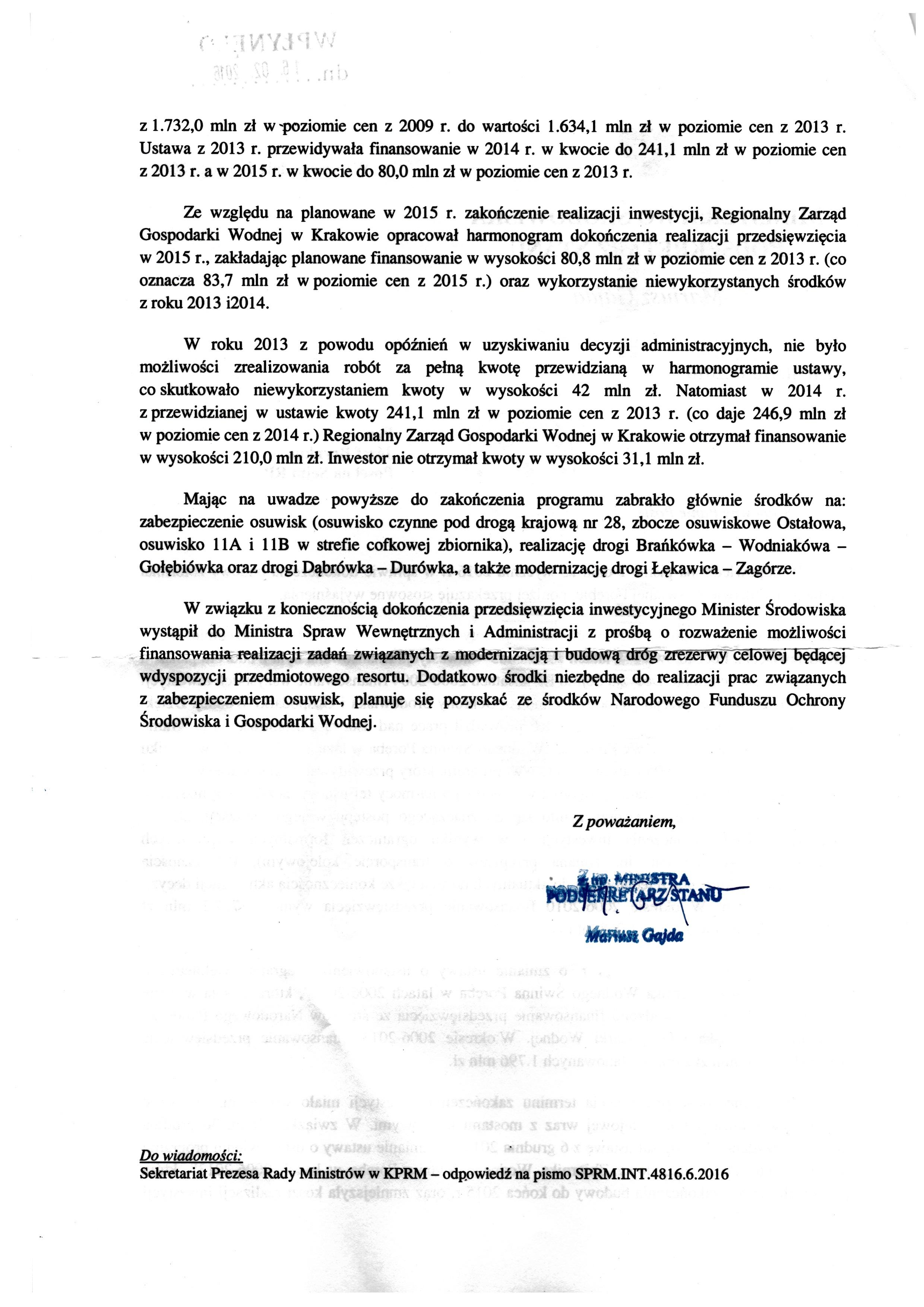 Zbiornik wodny - pismo zMinisterstwa Ochrony Środowiska ws środków nadkończenie budowy Jeziora Mucharskiego str. 2