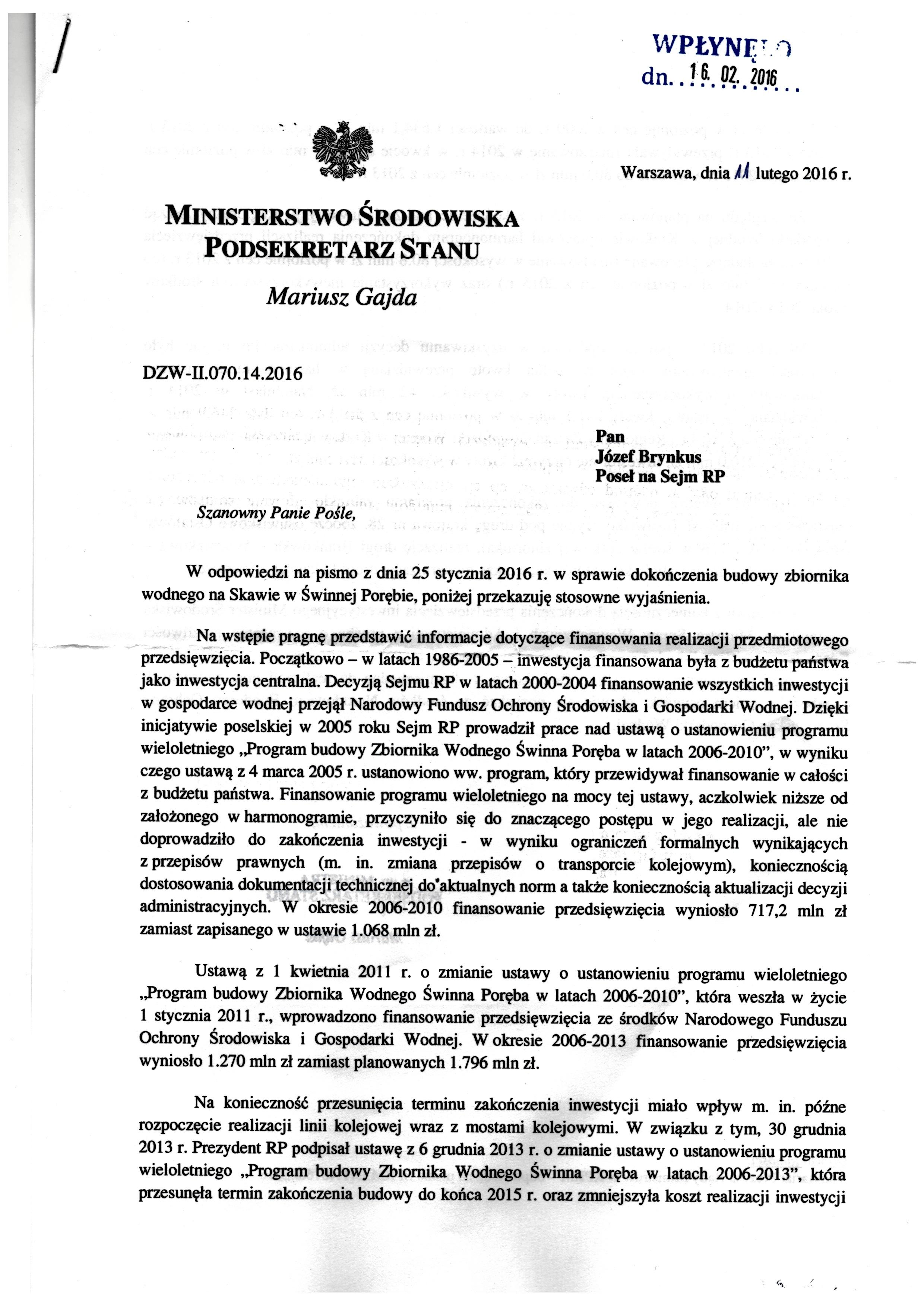 Zbiornik wodny - pismo zMinisterstwa Ochrony Środowiska ws środków nadkończenie budowy Jeziora Mucharskiego str.1