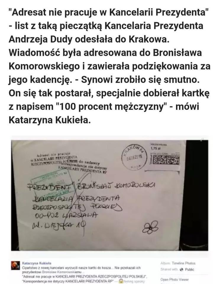 Kukieła pisze doKancelarii PAD idziekuje Komorowskiemu