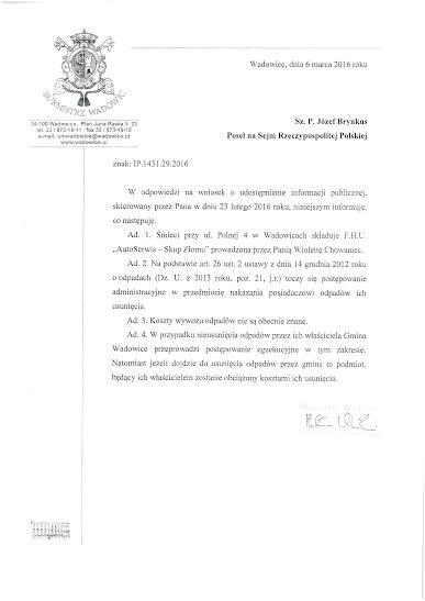 Pismo Burmistrza Klinowskiego zodpowiedziami dla posła Brynkusa ws śmeici naul.Polnej wWadowicach