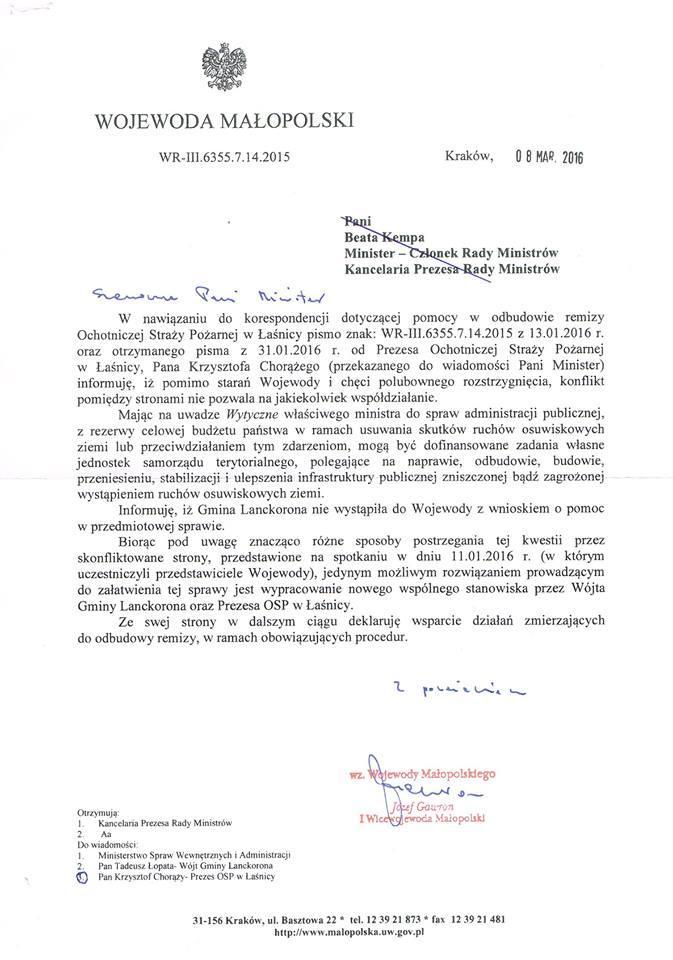 Pismo odWojewody małopolskiego wsprawie OSP Łaśnica