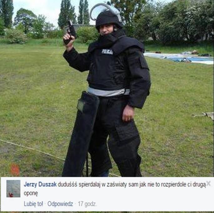 Policjant grozi Dudzie