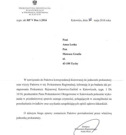 Informacja owznowieniu śledztwa ws śmierci Miłosza Gruźli