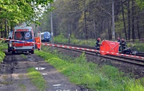 Potrącenie śmiertelne przez pociąg naŻwakowie wTychach