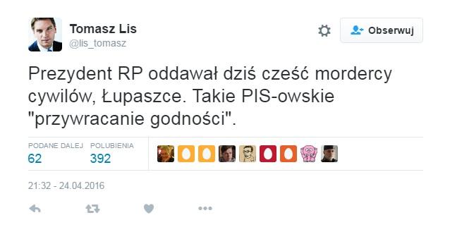 Twett Tomasza Lisa ws Łupaszki