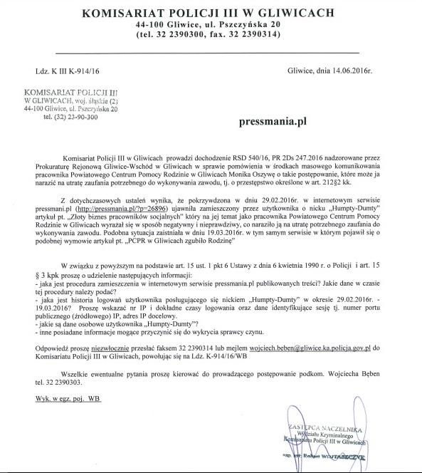Komenda Powiatowa Policji III Komisariat wGliwicach sprawa Humpty Dumpty