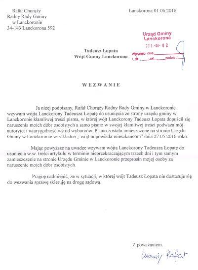 Wezwanie dousunięcia naruszenia dóbr osobistych przezwójta Gminy Lanckorona Tadeusza Łopatę