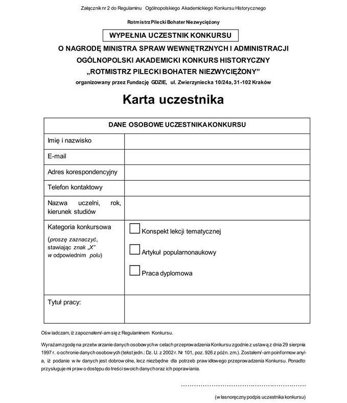 Załącznik nr2 doRegulaminu Ogólnopolskiego Akademickiego Konkursu Historycznego