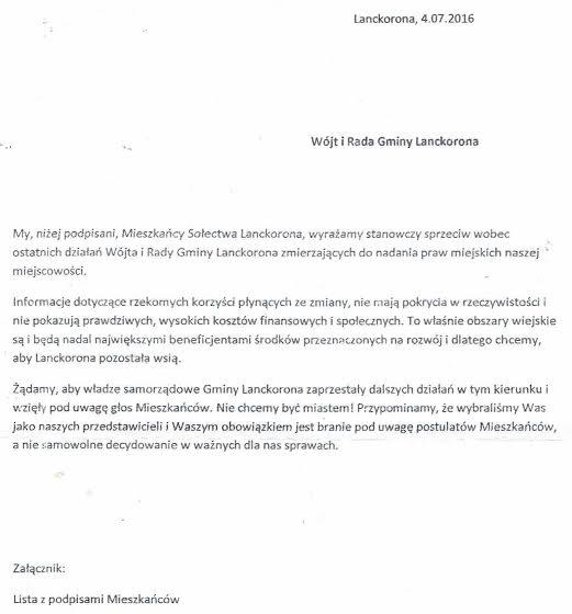 Pismo dowładz samorządowych Lanckorony ws praw miejskich