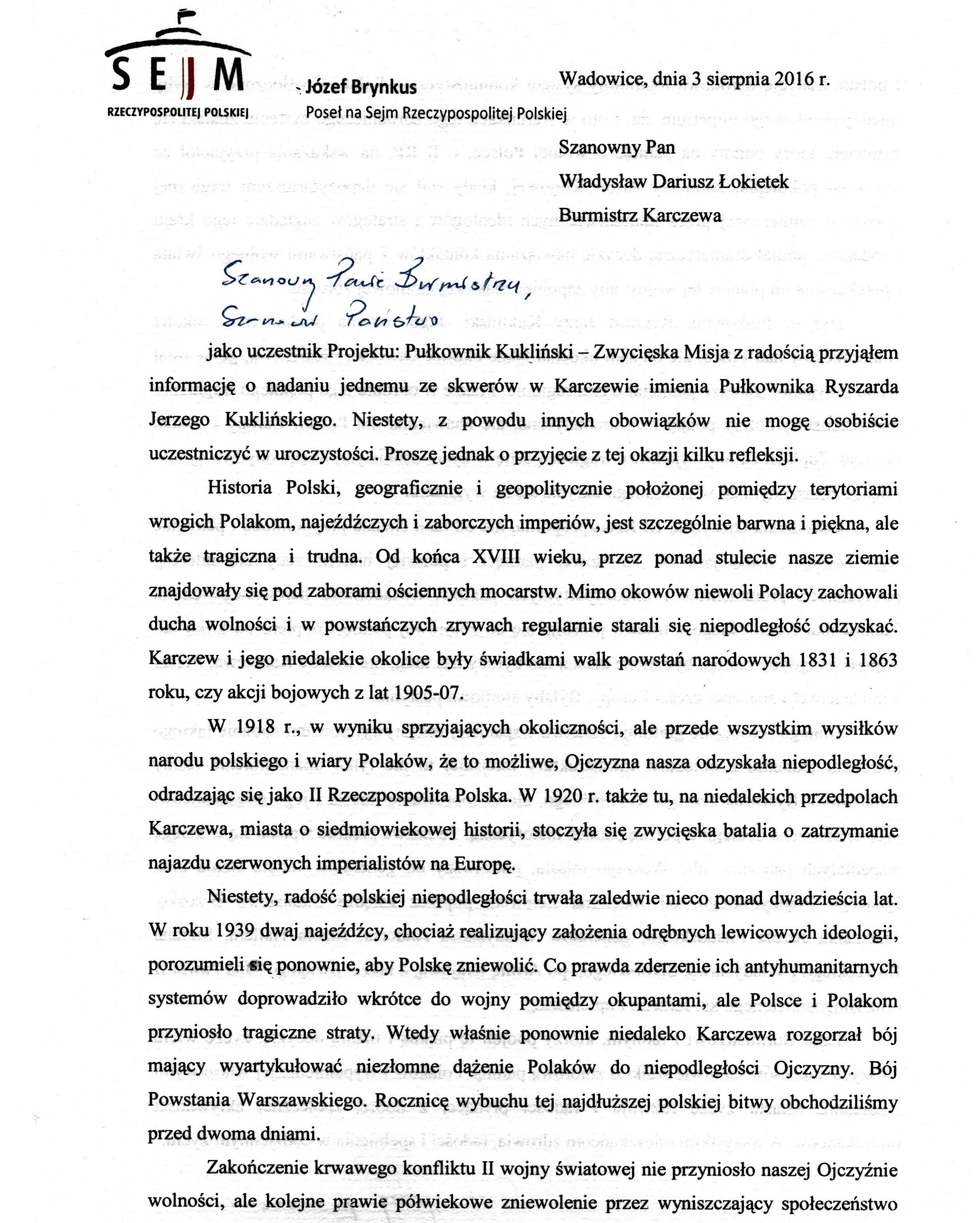 List domieszkańców isamorządowców Karczewa ws nadania imienia płk. R. Kuklińskiego swerowi - str. 1