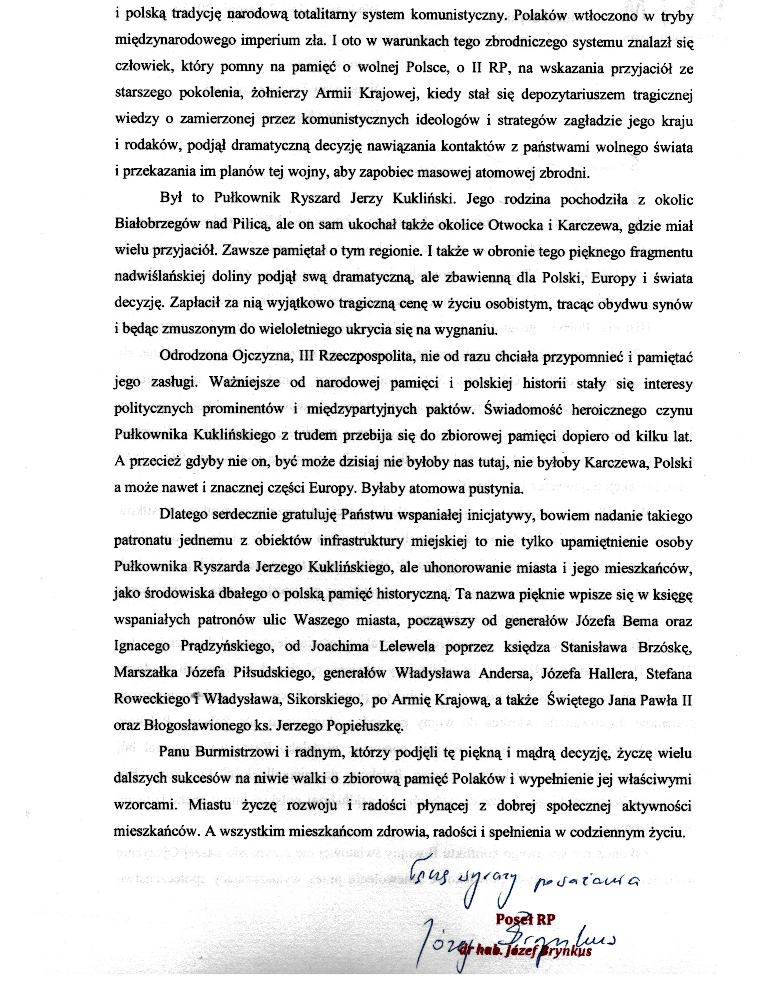 List domieszkańców isamorządowców Karczewa ws nadania imienia płk. R. Kuklińskiego swerowi - str. 2