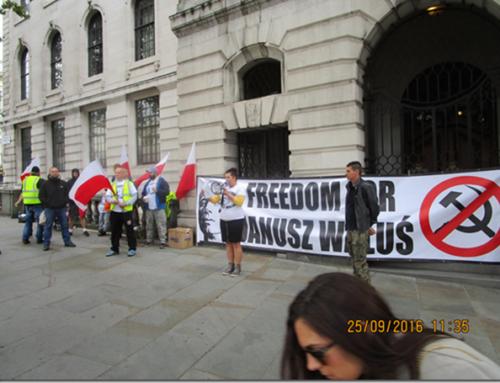 Uwolnić Janusza Walusia! South Africa House, Trafalgar Square, London