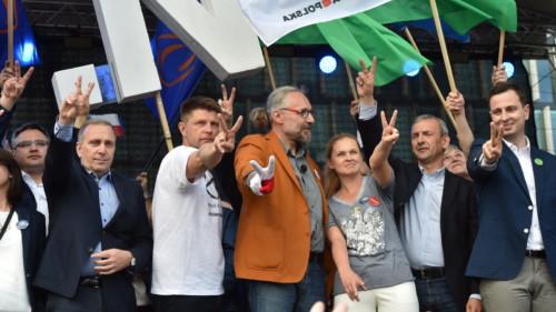 """Warszawa, 07.05.2016. Przewodniczący POGrzegorz Schetyna (2L), współprzewodnicząca partii TwójRuch Barbara Nowacka (3P), lider Nowoczesnej Ryszard Petru (3L), lider KOD Mateusz Kijowski (C), prezes PSL Władysław Kosiniak-Kamysz (P) iprzewodniczący ZNP Sławomir Broniarz (2P) podczas wiecu napl. Piłsudskiego. Marsz """"Jesteśmy ibędziemy wEuropie"""", współorganizowany przez Komitet Obrony Demokracji orazpartie opozycyjne - PO, Nowoczesną orazPSL przeszedł ulicami Warszawy, 7 bm.Jego uczestnicy manifestowali przywiązania dowartości europejskich. (cat) PAP/Radek Pietruszka"""