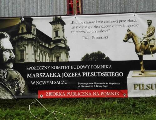 Pomnik marszałka Józefa Piłsudskiego wmiejscu pomnika wdzięczności Armii Czerwonej